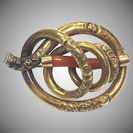 Large Victorian 14k Yellow Gold Filled and Coral Spiral Brooch