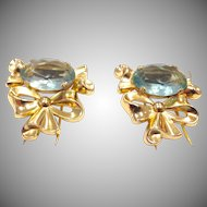 Signed Coro Gold Tone and Blue Faceted Glass Bow Dress Clip Duette