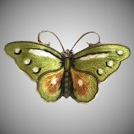 Norwegian Hroar Prydz Green, Ochre, and White Enamel Butterfly Brooch