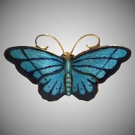 Medium Vintage Norwegian Hroar Prydz Blue and Black Enamel Butterfly Brooch