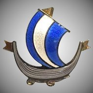 Norwegian Aksel Holmsen Blue and White Enamel Viking Ship Brooch