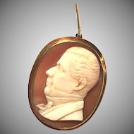 Antique Victorian unusual cameo brooch of a man's profile in 10 karat yellow gold