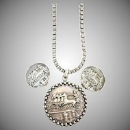 Vintage 1960s rare Napier Roman coin silver necklace and matching earrings