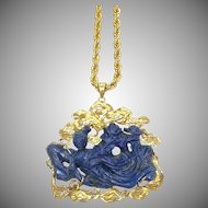Vintage 14k Yellow Gold and Lapis Carved Goddess Pendant