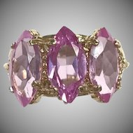10k Yellow Gold Ring with 3 Marquis Cut Pale Pink Stones