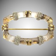 Antique 14k Yellow Gold Carved Quartz pin with Seed Pearls