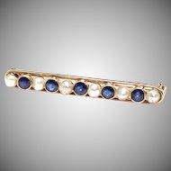 Antique Art Nouveau 14K yellow gold sapphire natural pearl bar pin