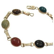Vintage Egyptian Revival 14k Yellow Gold Semi Precious Stone Scarab Bracelet