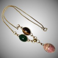 Vintage 1960s 12GF real stone Carved Scarab Beetle necklace