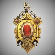 Antique Victorian Gold Fill Pendant with Real Coral Carved Cameo and Hidden Hair Locket