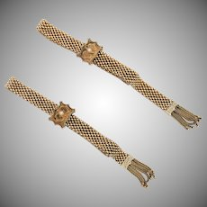 Solid 14k gold Victorian mesh slider bracelets with enamel, seed pearls, and fringe