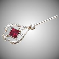Art Deco 14k White Gold Diamond Red Stone Signed Scofield Stickpin, Melcher & Scofield M&S