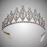 Vintage Wedding worthy 1950s large clear crystal tiara perfect for a bride
