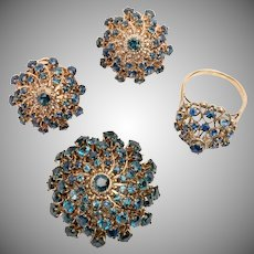 Vintage 10k gold and blue sapphire jewelry set with princess ring, earrings, and pin or pendant