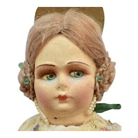 Cloth Printed Mask face Doll from Valencia,13 inches
