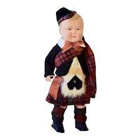 All Original Celluloid Boy in Scottish Costume, 8 inches