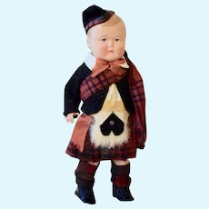 All Original Celluloid Boy in Scottish Costume, 8 inches