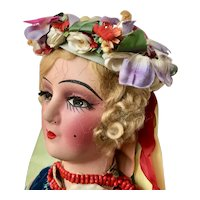 Large Boudoir Doll with eyelashes dressed As A Ukrainian Plains Woman, 24 inches