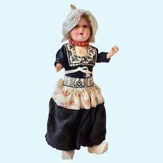 Armand Marseille 390 German Bisque Doll in Vollendam Costume, 8 1/2 inches