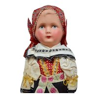 Composition Head Doll In Czechoslovakian Folk Costume, 16 inches