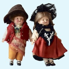 Pair of Gelenkpuppe Celluloid Dolls in Spanish Costume, 3 1/2 inches