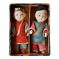 All Bisque Japanese Ichimatsu Asian Dolls in Original Box