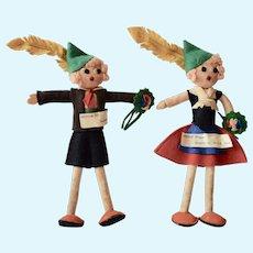 Pair of Felt Dolls in Austrian Costume, 9 inches