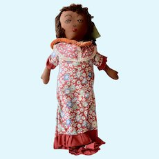 Black Cloth Rag Doll Stockinette Sewn on Features,15 1/2 inches