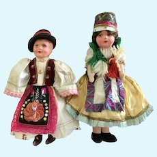 Composition and Cloth Brother and Sister Pair wearing Hungarian Holiday Costume