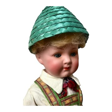 Heubach Koppelsdorf Painted Bisque Boy in Bavarian Costume, 11 inches