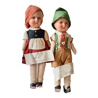 Composition and Cloth Boy and Girl dressed in Swiss Costume, 12 inches