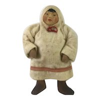 Molded Stockinette, Cloth and Wood Doll as Samoyed Girl from Siberia, 7 inches