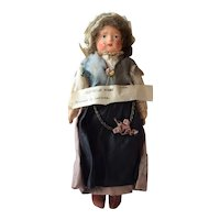 Papier Mache Head Doll with Cloth Body dressed in Slovenian Costume, 8 1/2 inches