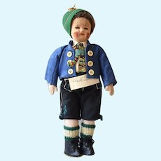 Cloth Doll dressed in Austrian Costume, 15 inches