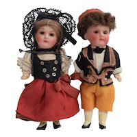 Pair of Bisque Head Dolls in Spanish Costume, 4 1/2 inches