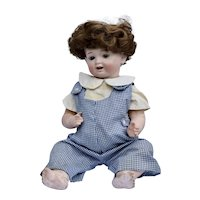 Morimura Baby Boy Bisque Doll All Original Body Wig Clothing 1900's Japan, 18 inches