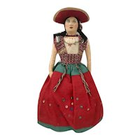 Hand Stitched and Embroidered Mexican Cloth International Folk Doll, 10 1/2 inches