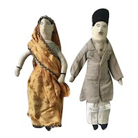 Lovely Pair of Cloth Dolls dressed in the Traditional Costume of India, 11 inches