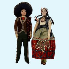 Lovely Pair of Cloth Dolls dressed in the Traditional Costume of Mexico, 10 inches