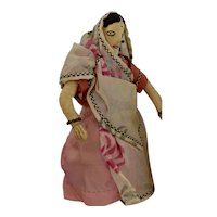 Vintage Cloth Doll dressed in the Traditional Costume of India, 8 1/4 inches