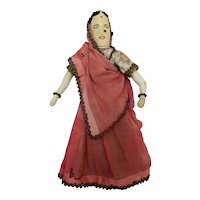 Vintage Cloth Doll dressed as a Hindu Woman from India, 10 1/2 inches