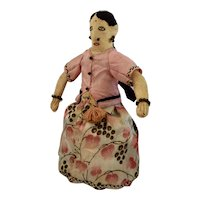 Vintage Cloth Doll, Young Girl dressed in Traditional Costume of India, 7 1/2 inches
