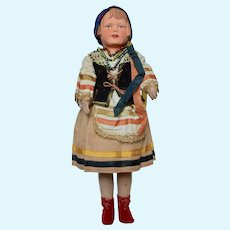 Composition and Cloth Girl Doll dressed in Costume of Holland, 16 inches