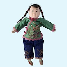 Papier Mache Chinese Woman with Painted Features in Original Costume, 10 inches