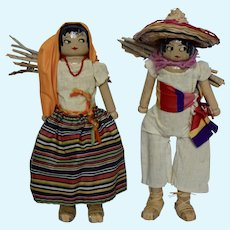 """Wooden peg dolls dressed in Mexican Costume, 9 1/2"""""""