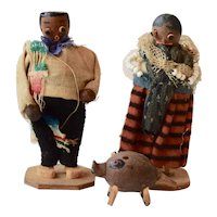 Wood Dolls dressed in Colorful Costume, 3 1/2""