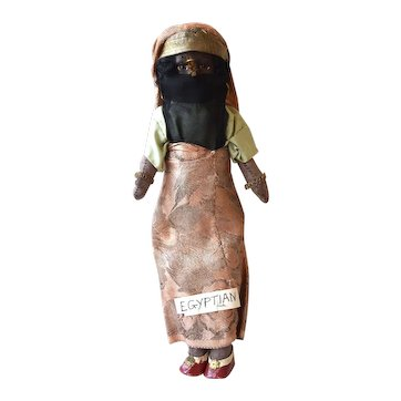 Papier Mache Head doll in Egyptian Costume, 11 inches
