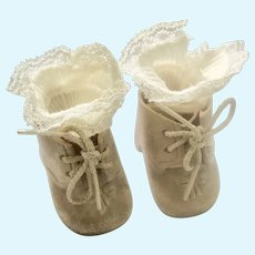 Doll Shoes,Soft Vinyl,Tie for Baby Doll, Cotton Socks with Double Lace Frill