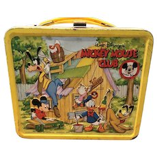 Vintage 1976 Yellow Walt Disney Mickey Mouse Club Metal Lunch Box