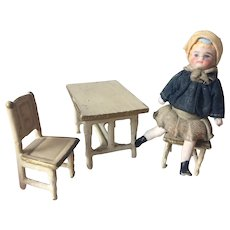 Small Bisque Dolls House Doll with Furniture